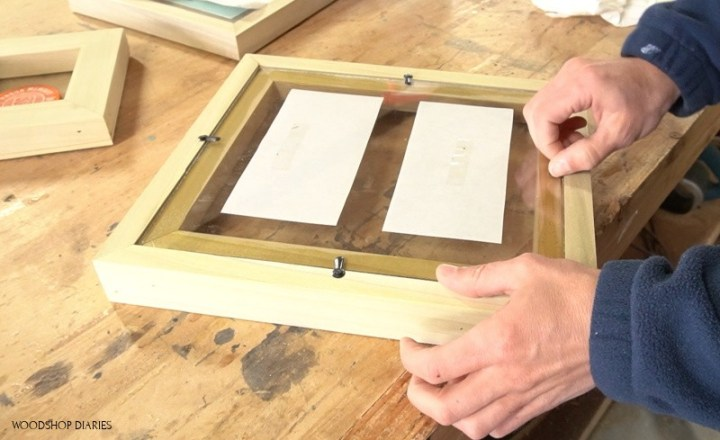 easy DIY picture frame upside down with turn buttons and plexiglass