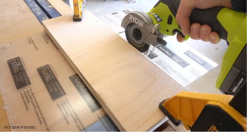 Using Ryobi ONE+ HP cut off tool to cut plexiglass sheet