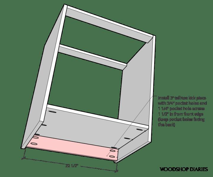 Toe kick attached to modular file cabinet desk cabinet diagram