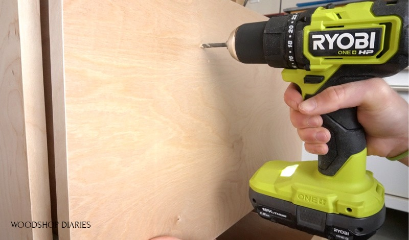 Ryobi ONE+ HP drill drilling holes for file cabinet drawer hardware