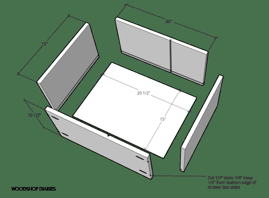 Exploded drawer box diagram