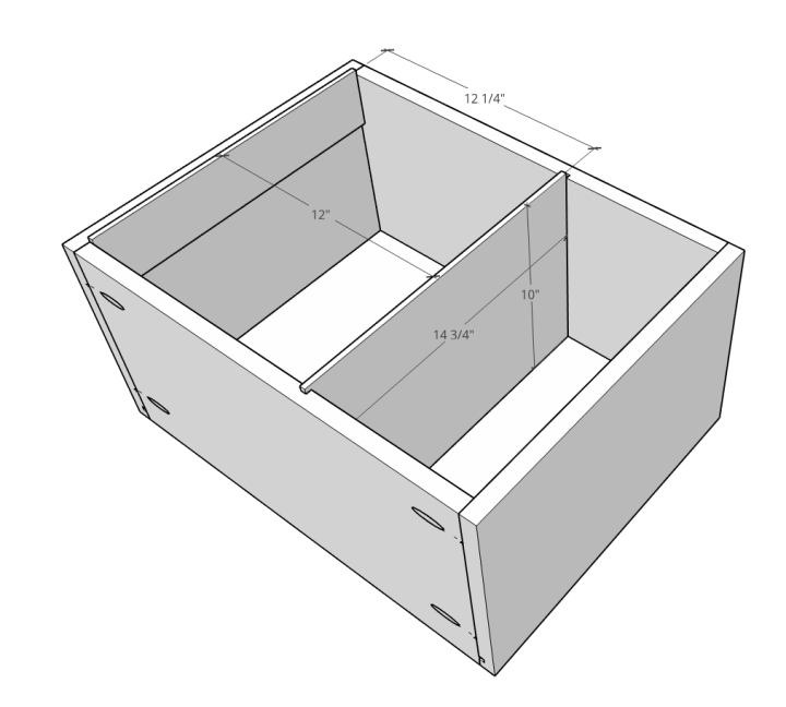 Front to back filing cabinet drawer dado cut diagram