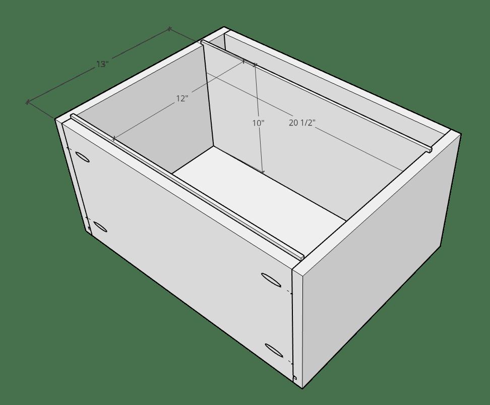 Side to side filing cabinet drawer dado cut dimension diagram