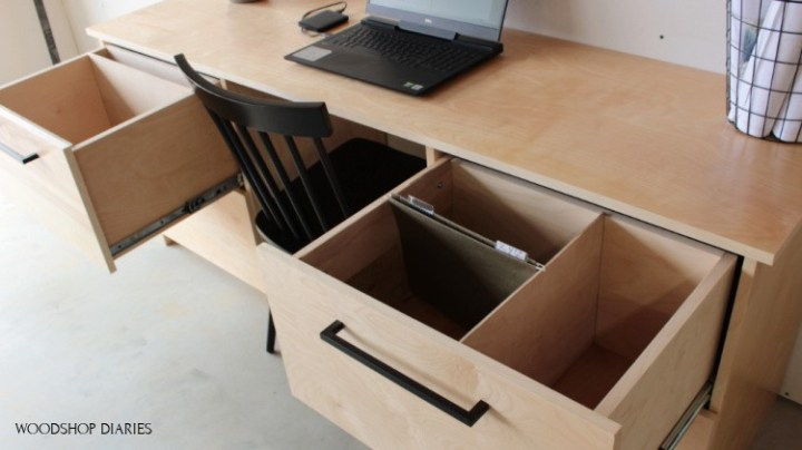 front to back filing cabinet drawer pulled out of DIY filing cabinet desk