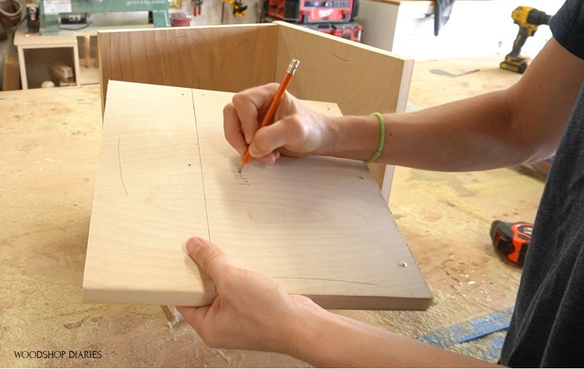 labeling pie box pieces in workshop
