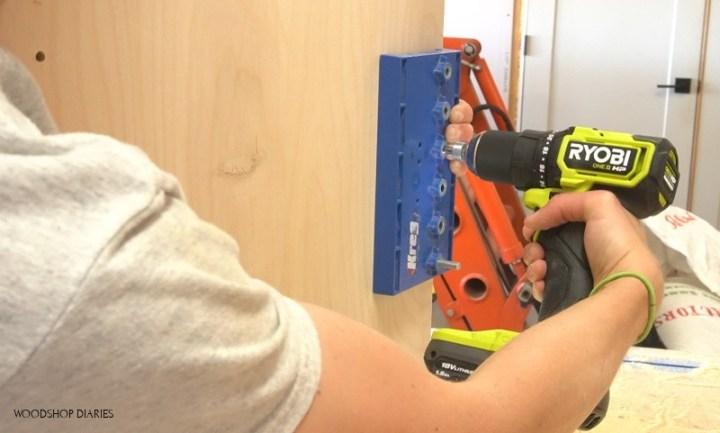 Using Ryobi ONE+ HP drill to drill shelf pin holes in modular desk cabinet