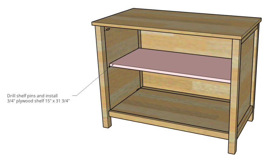 Shelf size diagram for cabinet shelf