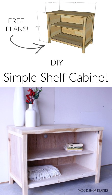 DIY Simple shelf cabinet pinterest image collage