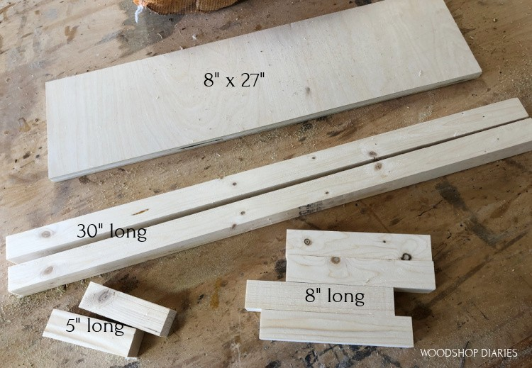 Cut list image of firewood rack pieces before assembly