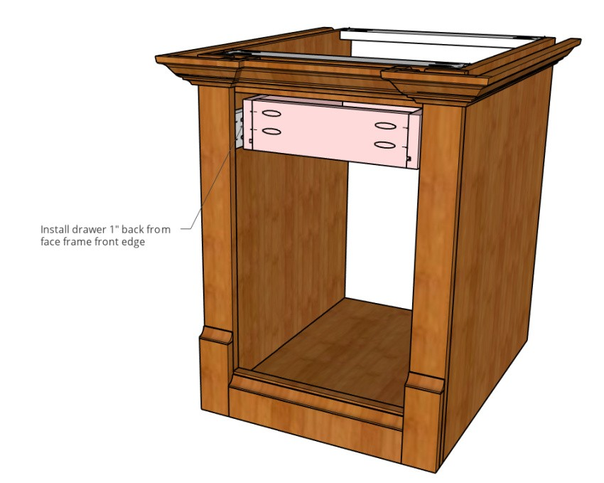 Drawer installed into side table with storage