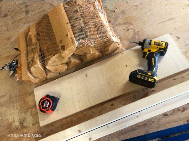 Materials needed for scrap wood rack