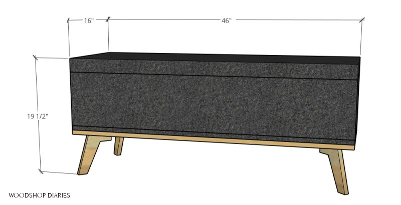 overall dimensions of upholstered storage bench
