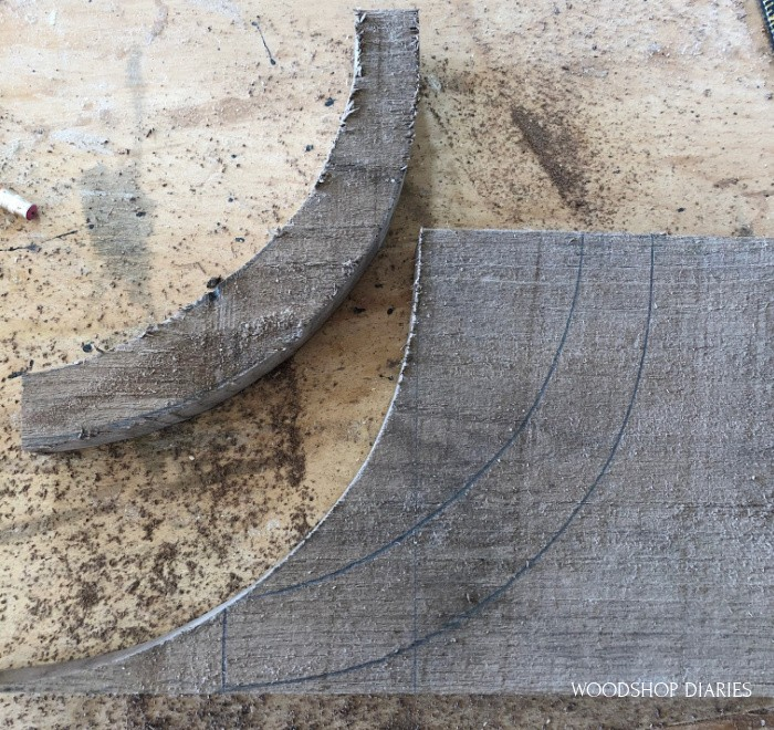 Curved tops traced onto boards