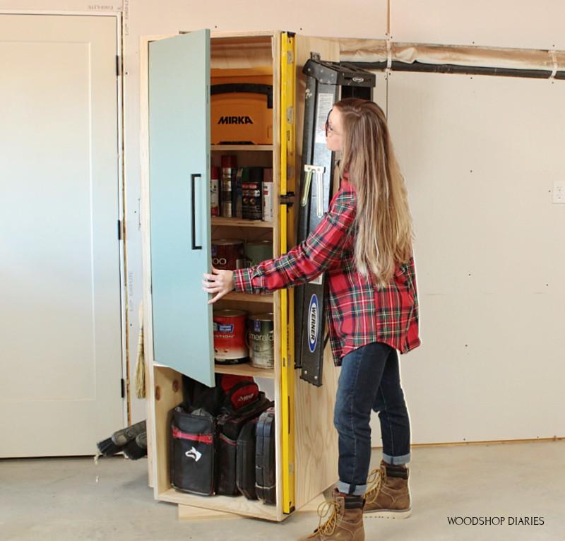 Shara Woodshop Diaries spinning lazy susan cabinet looking inside door