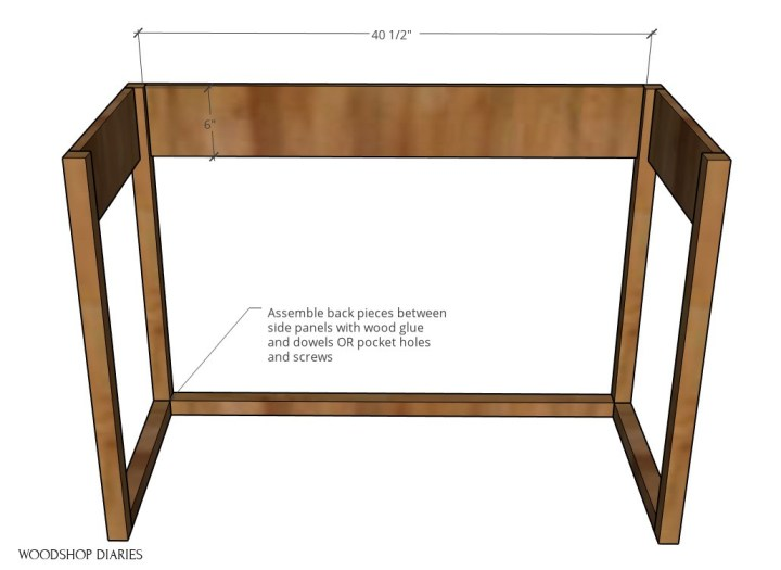 diagram of keyboard stand frame with back pieces assembled