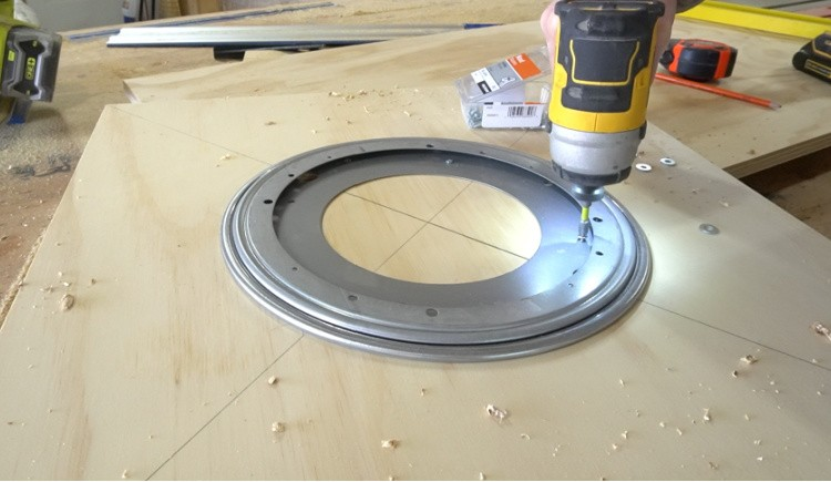 Installing lazy susan onto cabinet bottom