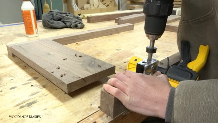 Drilling dowel holes for side panel assembly