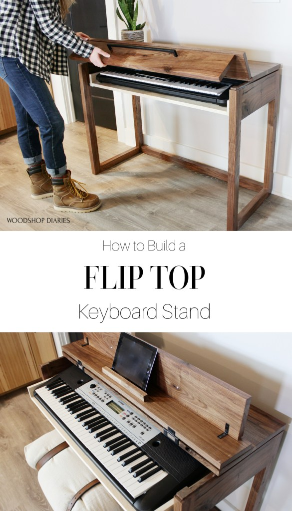 Pinterest collage of flip top DIY keyboard stand--Shara at top opening stand and open stand with pull out drawer image in bottom