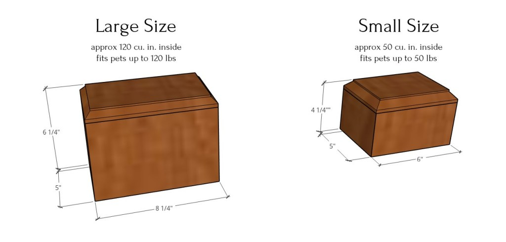 Large and small size pet urn overall dimensions