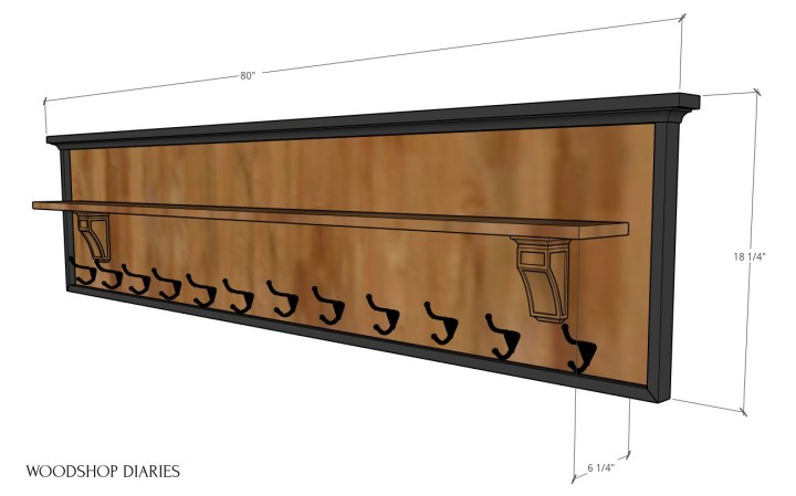 "Overall dimensional diagram of coat rack with shelf--80"" long, 18 1/4"" tall, 6 1/4"" deep"