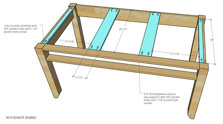 DIY writing desk top supports shown in blue installed in 3D diagram