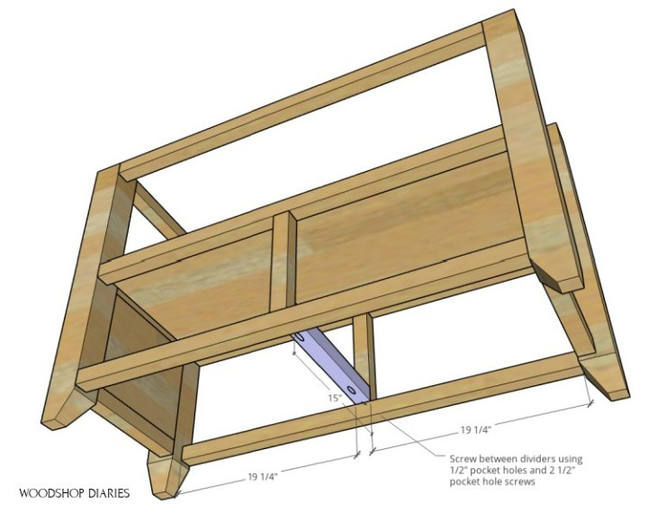 Graphic showing the middle divider drawer slide support on bottom of shelf frame in purple