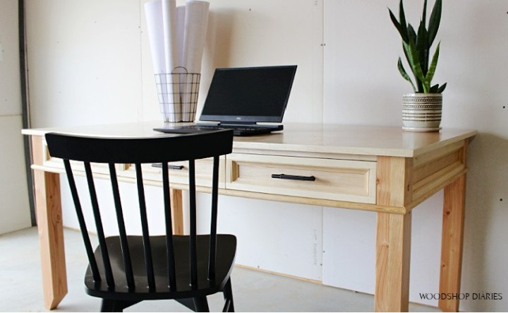 Birch plywood writing desk with birch edge banding covering plywood edges