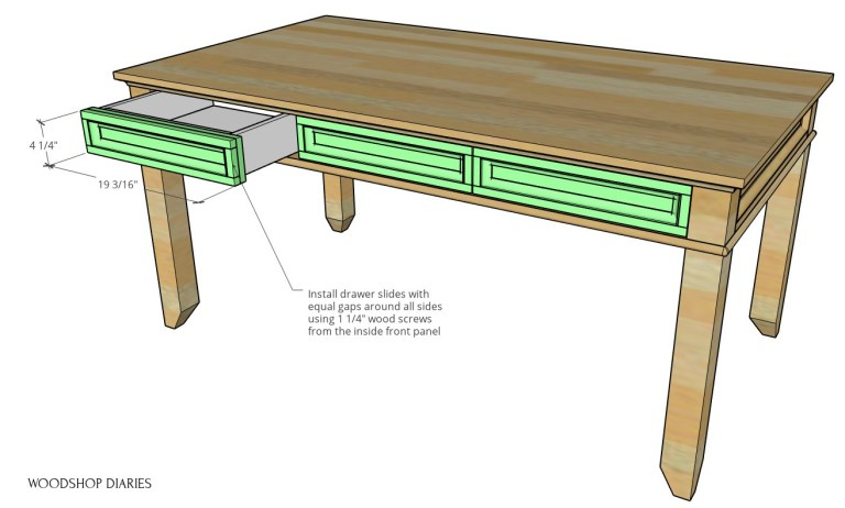Diagram showing drawer fronts added onto desk drawers
