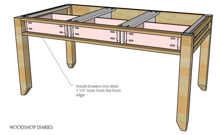 Drawers shown installed into desk frame diagram