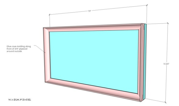 Close of of drawer front and dimensions with cove molding attached around edges