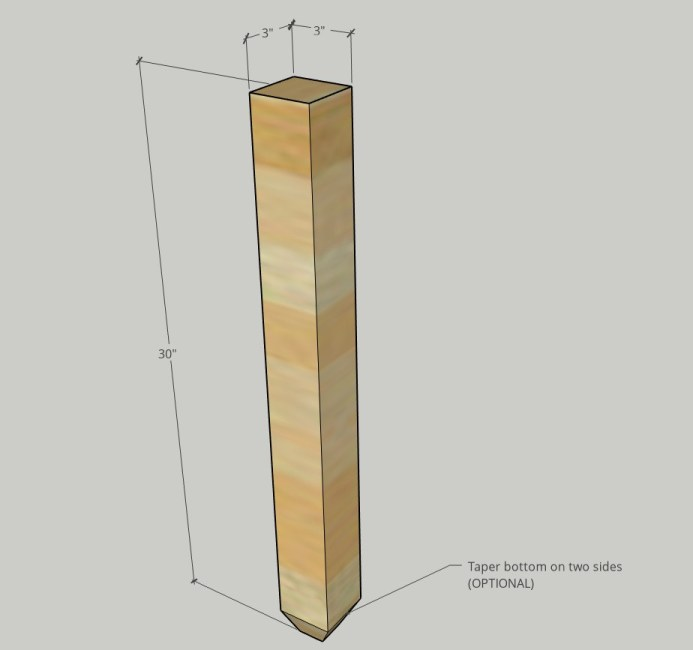 "Diagram of leg posts used for desk legs--showign 3"" x 3"" overall dimension and tapered end"