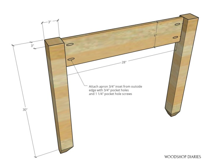 "Diagram of side panel assembly with 6"" wide apron attached between 30"" long legs"