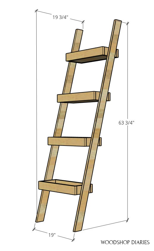 """Overall dimension diagram of plant ladder shelf--63 3/4"""" tall, 19 3/4"""" deep, 19"""" wide"""