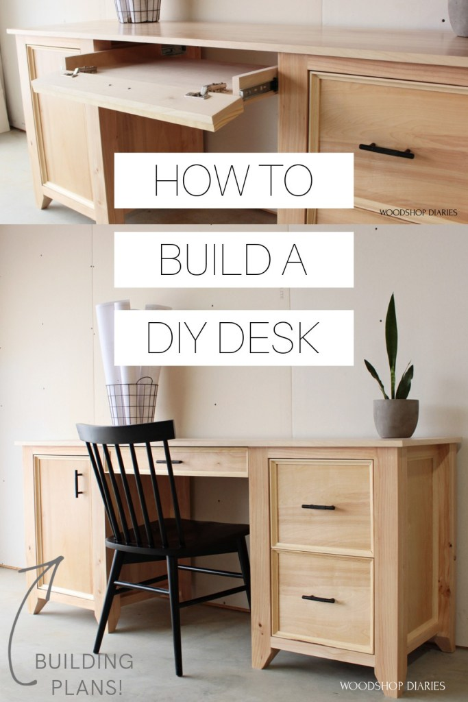 """Pinterest collage with keyboard tray open at top and finished DIY computer desk on bottom with text """"how to build a DIY desk"""""""