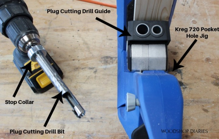 Parts to the plug cutting kit for filling in pocket holes