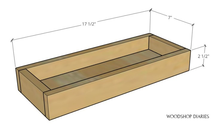 """Assembled plant ladder shelf tray overall dimension diagram--17 1/2"""" wide, 7"""" deep, 2 1/2"""" tall"""