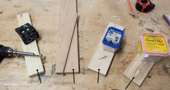 4 ways to fill a pocket hole laid out on workbench already filled