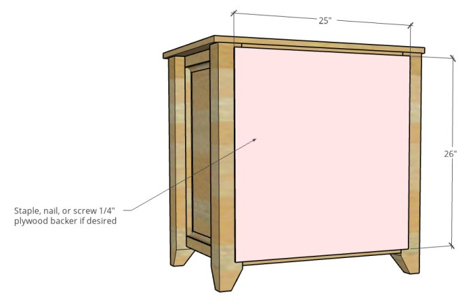 Attach back panel diagram with dimensions