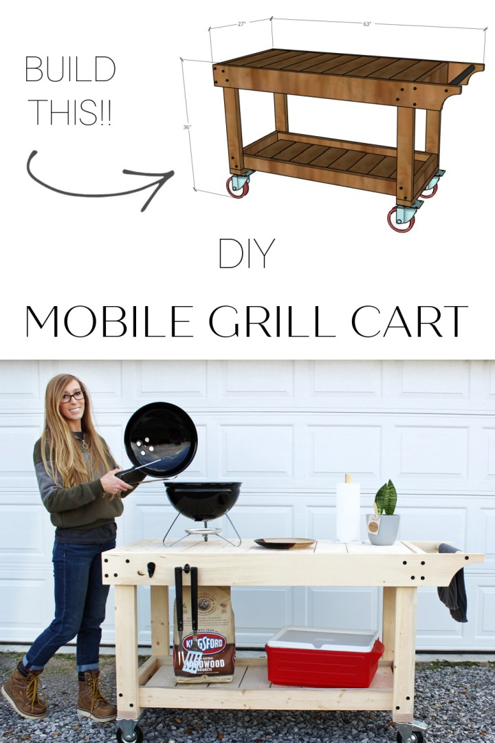 Pinterest graphic showing cart overall dimensions at top and Shara Woodshop Diaries grilling on bottom