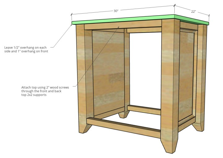 Dimensional diagram of top attached to cabinet bottom