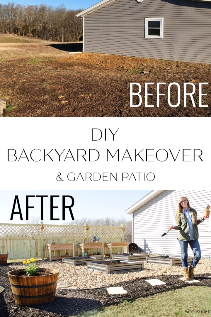 Pinterest collage of before and after DIY backyard makeover and garden patio
