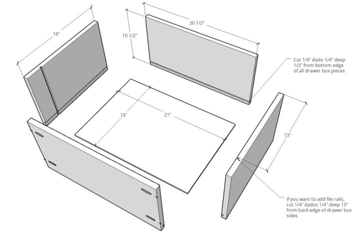 Exploded dimensional diagram of drawer boxes