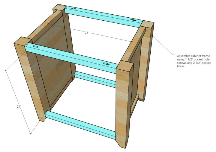 Dimensional diagram of file cabinet frame