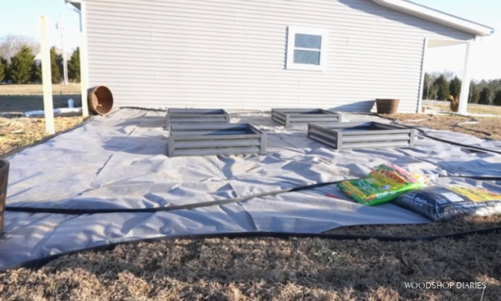 Backyard makeover with mesh laid down and raised garden beds in place