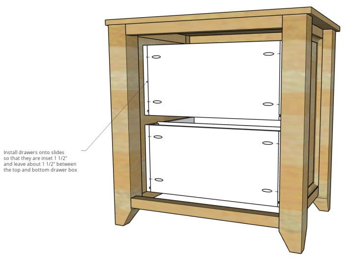 """Diagram showing drawer boxes installed into cabinet with 1 1/2"""" gap between them"""