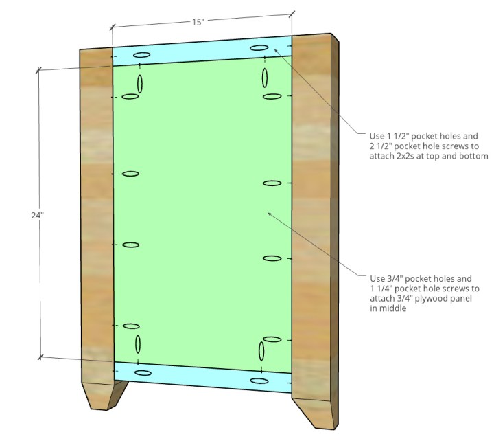 Dimensional diagram of side panel assembly with 2x2s and plywood