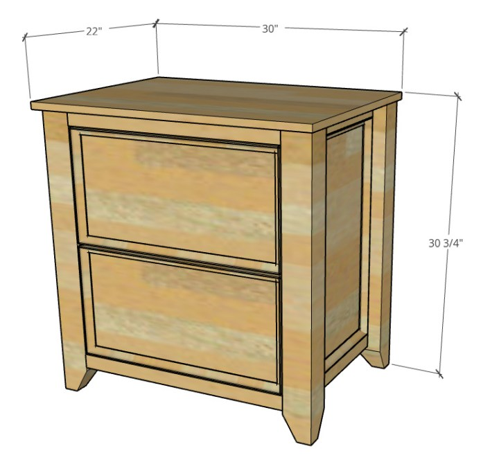 """Overall dimensions of DIY file cabinet--30 3/4"""" tall, 30"""" wide, 22"""" deep"""