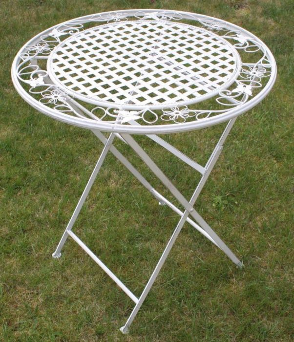 maribelle rustic white floral round folding outdoor garden patio dining table