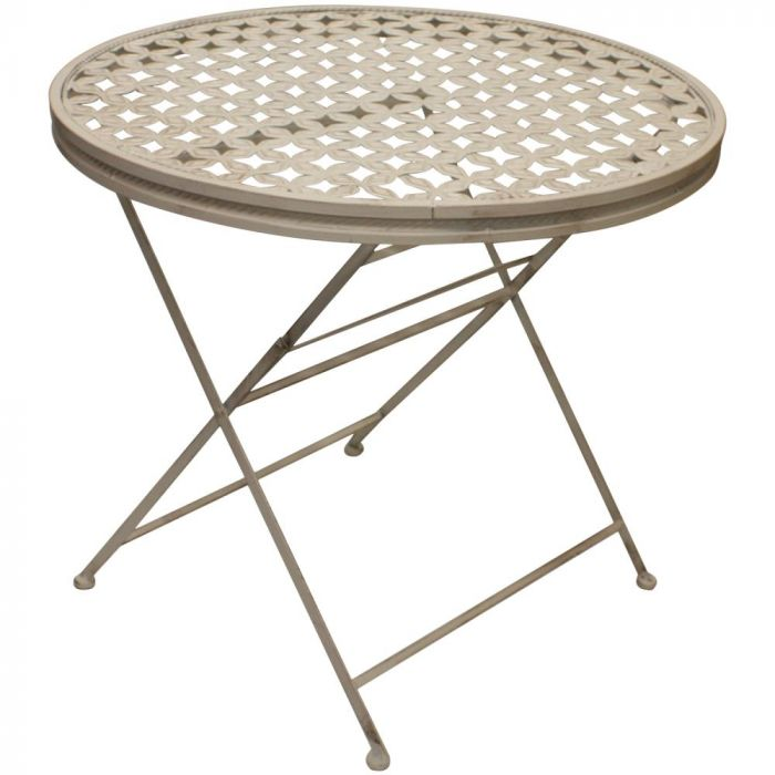 woodside round folding metal garden patio dining table outdoor furniture