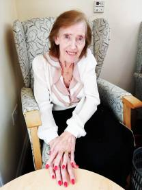 Shelia looks very glamorous with her newly painted nails